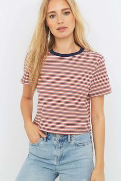 Urban Outfitters Variegated Red Striped Crop Top