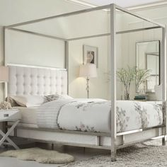 Hearts Attic Full Size Metal Canopy Bed ($1,520) ❤ liked on Polyvore featuring home, furniture, beds, bed, queen bed, tufted queen bed, queen tufted headboard, king size storage bed and king tufted headboard