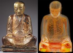CT scan of Buddha sculpture dated to 1100 CE. China reveals a mummy. The scan took place when they buyer requested it for restoration purposes without knowing it's contents.