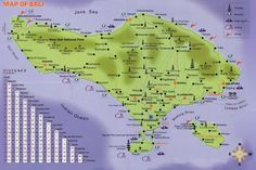 Distances to places in Bali & map of bali island
