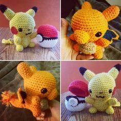 My bestfriends little boy keeps asking me to make him Pokemons lol...They are really cute tho ⚡⚫⚪ #crochetpokemon#pikachu#charizard#catchemall#crochetcuteness#stitchlife#makersofinstagram