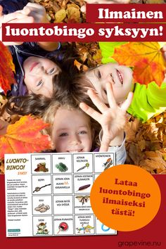 Syksyinen luonto ihastuttaa väriloistollaan! Syysteemaisessa luontobingossa etsitään muun muassa jotain punaista ja keltaista!  Käytä alennuskoodia: SYYSHAUSKAA ja saat luontobingon ilmaiseksi. Anna alennuskoodi kassalla. #luntobingo #bingo #grapevine Advertising Strategies, Marketing And Advertising, Craft Activities For Kids, Crafts For Kids, Bingo, Autumn Crafts, Too Cool For School, Teaching Kids, Grape Vines