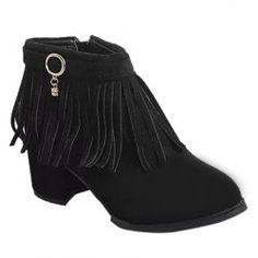 Retro Fringe and Metal Design Women's Short Boots