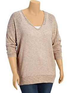 Womens Plus Slub Sweater-Knit Tops Perfect for the autumn weather...step outside for some fresh air and then get back to work in comfort and style.