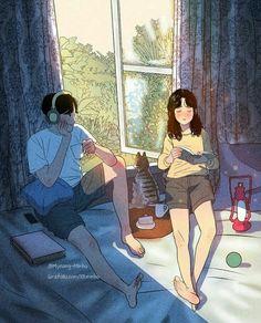 Myeong-Minho is a South Korea-based illustrator who draws beautiful, romantic moments of couples lives. Cute Couple Drawings, Cute Couple Art, Anime Love Couple, Cute Drawings, Couple Illustration, Character Illustration, Illustration Art, Aesthetic Anime, Aesthetic Art