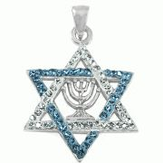 AnIntricate Star of David Necklace, Silver & Crystals Made in Israel Judaica art Star Necklace, Crystal Necklace, Crystal Pendant, Jewish History, Jewish Art, Jewish Jewelry, Religious Jewelry, Jewish Gifts, Hanukkah Gifts