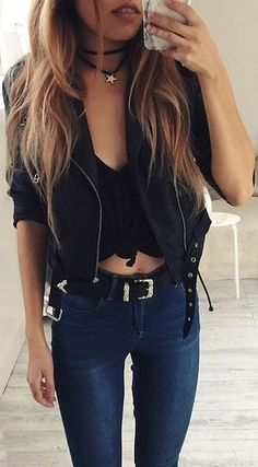 #spring #outfits black top, leather jacket, jeans