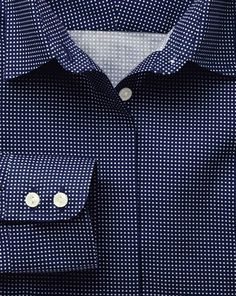 Women's semi-fitted non-iron micro square print navy shirt