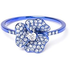 As29 diamond flower ring ($2,360) ❤ liked on Polyvore featuring jewelry, rings, blue, channel-set band ring, blue band ring, pave diamond ring, diamond rings and flower diamond ring