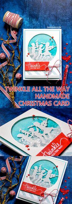 Spellbinders | Christmas Shaker – Twinkle All The Way Card by Yana Smakula using S4-828 Fa La La dies #diecutting #spellbinders #christmascard