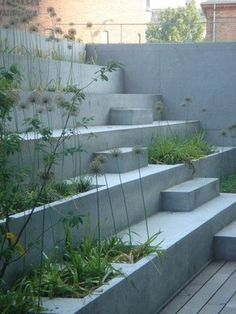 New Concrete Stairs Ideas Outdoor Steps Ideas Concrete Retaining Walls, Concrete Stairs, Concrete Garden, Landscape Design, Garden Design, Landscape Stairs, Landscape Bricks, House Landscape, Ideas Terraza