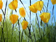 Yellow Tulips by Amy Giacomelli. Yellow Tulips, Stained Glass, Amy, Art Prints, Plants, Painting, Kunst, Art Impressions