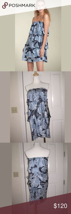 "NWT Ella Moss Black Label Phoebe Tiered Silk Dress NWT Ella Moss Black Label Phoebe Tiered Silk Dress, Navy Floral, Size Small, Retail $322  Strapless, floral 3 tiered silk dress. Fully lined. Elastic banding. 29"" length, 13"" chest.  Pet and smoke-free home.   All items were purchased by me, from local and online boutiques, as well as department stores. Stock photos are shown to provide styling ideas, i.e. the black dress is just for styling purposes. Ella Moss Dresses Strapless"