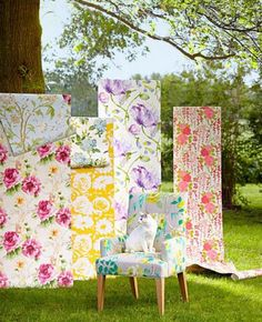 For a new take on decorating with wall coverings, frame large-scale colorful and beautiful floral designs with molding to create a headboard or work of art.link on for multiple sites to see patterns or purchase. Midwest Living Magazine, Outdoor Chairs, Outdoor Decor, Floral Fabric, Flower Power, Fabric Design, Backdrops, Bloom, Design Inspiration