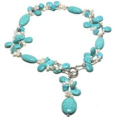 """24"""" Beautiful Turquoise & White Freshwater Pearl Necklace With Toggle Hook  http://electmejewellery.com/jewelry/necklaces/24-beautiful-turquoise-white-freshwater-pearl-necklace-with-toggle-hook-com/"""