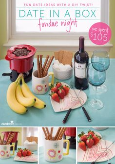 DIY Date Night Ideas - Date In A Box Fondue Night - Creative Ways to Go On Inexpensive Dates - Creative Ways for Couples to Spend Time Together - Cute Kits and Cool DIY Gift Ideas for Men and Women - Cheap Ways to Have Fun With Your Husbnad or Wife, Girlfriend or Boyfriend - Valentines Day Date Ideas http://diyjoy.com/diy-date-night-ideas
