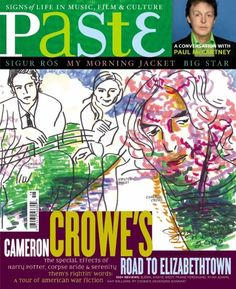 The cover of the October, 2005 issue of Paste magazine featuring an illustration by Joni.  From the magazine:  The year was 1979. Cameron Crowe waiting in the office of Joni Mitchell's manager for the singer/songwriter's first in-depth interview in a decade, an interview that was - along with Marvin Gaye and Neil Young - on the young music journalist's list of dream assignments. It would be Crowe's final cover story for Rolling Stone; his next project, a book about a bunch