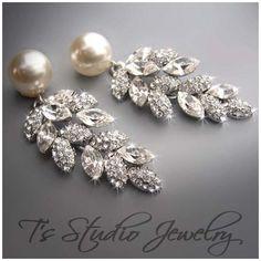 Pearl Bridal Chandelier Earrings - CAROLYN