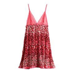 Sexy Dress Women Babydoll Lingerie Leopard Print Lace Sheer Mesh Spaghetti Strap Backless Nightgown Nightwear Sleepwear G-String