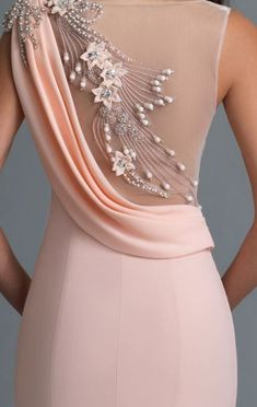 Pink dress. Sheer with beaded detailing.