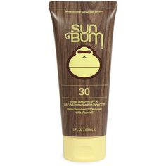 Sun Bum SPF 30 Moisturizing Sunscreen Lotion (3oz) ($9.99) ❤ liked on Polyvore featuring beauty products, bath & body products, sun care, beauty, makeup, fillers and yellow
