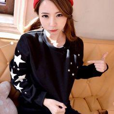 2015 봄 한국 스타일 플러스 사이즈 패션 검은 색 칼로리 여성 후드 스웨터