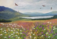 Print of a Scottish landscape with red kites from an original