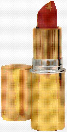 Cross Stitch | Lipstick xstitch Chart | Design... what fun this could be... a row or two of different colored lipstick... awesome pillow for the fashionista