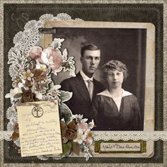 Albert Dora Hamilton ~ I just love this subtly intricate heritage wedding portrait page. The lace doily and flower clusters are just gorgeous and the scan from the photo's back reveals interesting family information.