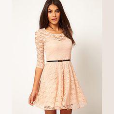 Women's Lace Splice Sheath Long Sleeve Dress – CAD $ 15.47