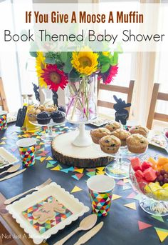 Book Themed Baby Shower featuring If You Give A Moose A Muffin - adorable baby shower ideas that could work well with any kids book.