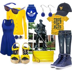 Gettin my Game Day outfits ready. Lets Go Mountaineers West Virginia University, Yellow Sweater, New Wardrobe, Dress To Impress, Letting Go, Blue Dresses, What To Wear, School Week, Catholic School