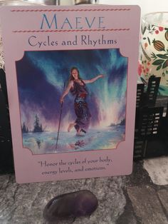 """Angel Card of The Day : Cycles & Rhythms (Maeve)   Maeve : A warrior queen.  She is the enemy (and former wife) of Conchobar mac Nessa king of Ulster and is best known for starting the Táin Bó Cúailnge (""""The Cattle Raid of Cooley"""") to steal Ulster's prize stud bull.  she had many lovers. While married to Eochaid Dála she took Ailill mac Máta chief of her bodyguard as her lover. Eochaid discovered the affair challenged Ailill to single combat and lost. Ailill then married Medb and became king…"""