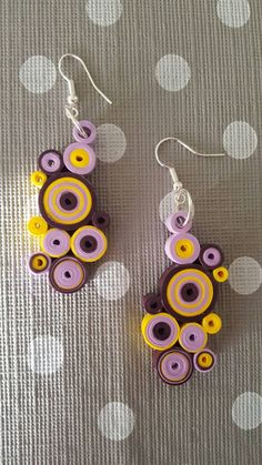 Paper quilling earrings purple and yellow wheels lightweight Paper Quilling Earrings, Origami And Quilling, Origami Paper Art, Quilling Art, Paper Jewelry, Beaded Jewelry, Handmade Jewelry, Diy And Crafts, Arts And Crafts