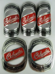 VINTAGE COLUMBIA WESTFIELD CO. BICYCLE HEAD BADGES