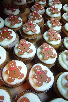 I do not claim any of these delicious cupcakes as my own. Nom on my little cupcakes. Everyone loves a fucking cupcake Christmas Food Gifts, Christmas Cupcakes, Christmas Sweets, Christmas Gingerbread, Christmas Baking, Christmas Crafts, Xmas, Gingerbread Man Cookies, Gingerbread Men