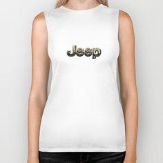 muddy yellow Jeep with chrome typograph Biker Tank @society6 #bikertank  #tee #tshirt #clothing #jeep #landrover #logo #car #offroad #wrangler #toyota
