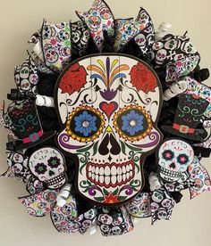 Excited to share this item from my shop: Sugar Skull wreath. Halloween Wood Crafts, Sugar Skull Halloween, Halloween Party Decor, Halloween Diy, Halloween Wreaths, Halloween Activities, Halloween Halloween, Vintage Halloween, Halloween Makeup