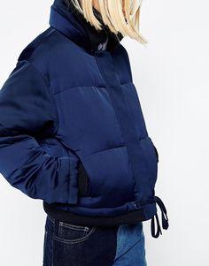 Image 3 ofASOS WHITE Padded Jacket In Satin