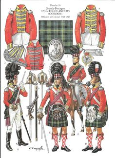 soldatini uniformi e storia militare: 92° Highlanders (Gordon) Officiers et Colonel 1814-1815