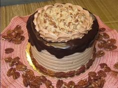 How to Make German Chocolate Filling and Icing: Evaporated milk 6 fl oz Sugar 1/2c (100g) Butter 1 stick (112g) Salt 1/2 tsp (3g) White Chocolate 2 oz (56g) Egg Yolks 2 Large (36g) Sweetened Flake Coconut 1 1/2 cup (135g) Lightly Toasted Pecan Pieces 1 cup (110g). With video tutorial from Woodland Bakery.