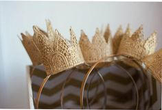 Gold Lace Crown Headband  - Photo Prop  - Birthday Party - Party Favor - Wedding Headband - Wedding - Dress Up - costume - Crowns