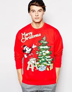 ASOS Oversized Christmas Jumper In Jersey With Mickey Mouse Print