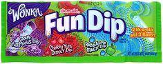 Fun Dip is a candy manufactured by The Willy Wonka Candy Company, a brand owned by Nestlé. The candy has been on the market in the United States and Canada since the 1940s and was originally called Lik-M-Aid. It was originally manufactured by Fruzola, and then Sunline Inc., through their Sunmark Brands division, which was purchased by Nestlé in January 1989.