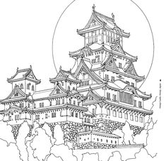 Architecture Drawing Art, Asian Architecture, Architecture Sketchbook, Japanese Drawings, Japanese Artwork, Japanese Tattoo Art, Detailed Coloring Pages, Colouring Pages, Coloring Book