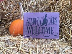 scaredy cats welcome halloween sign, black cat trick or treat wall art, front door hand painted repurposed wood, seasonal home decor by learncreateconnect on Etsy