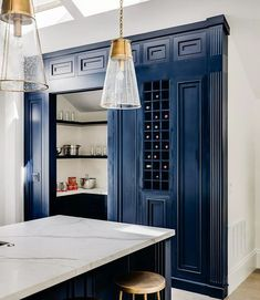 Blue Kitchen Cabinets - - Modern White Interior - House from Full House Layout Design, Blue Kitchen Cabinets, Kitchen Nook, Kitchen Layout, Kitchen Ideas, Kitchen Decor, Light Gray Paint, Modern Interior, Interior Design
