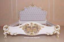 Mahagoni Massivholz Barock Bett 180 Cm Louis XV Weiß Barockbett Prunkbett  Gold