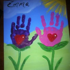 Make a sign using handprints for flowers...wooden letters spelling Grow.