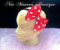 Adorable Big Red Polka Dot Minnie Mouse inspired Headband - Infant hairbow- Mini Polka Dots - Minnie Mouse - Adult Bow - Birthday Party on Etsy, $9.00